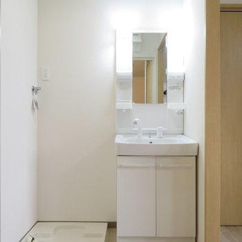 洗面台と洗濯機置き場は同居(※写真は2階の同間取り別部屋のものです)