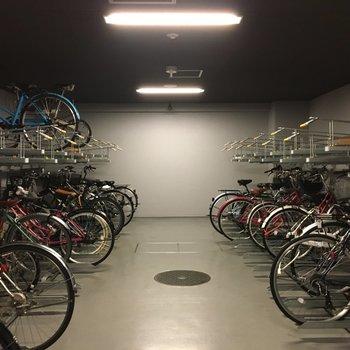 共用部】駐輪場は屋根付きで、雨の心配もなし。