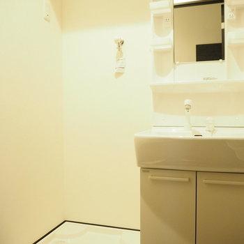 洗濯機は洗面台のお隣さん。※写真は3階の同間取り別部屋のものです