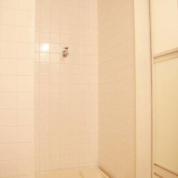 トイレの向かいに洗濯機置き場。右手にはバスルーム。