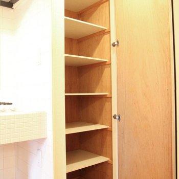 右側には奥行き深めの棚が。台所用品をしまうのもありかも。