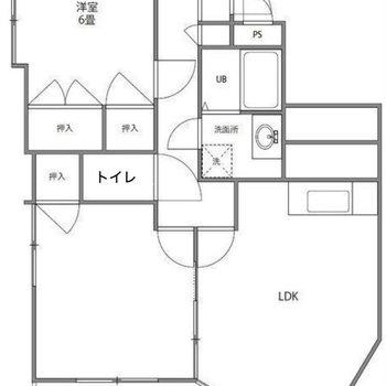 広々2LDKのお部屋です。※洋室6帖の押入一つは廊下側から開けます