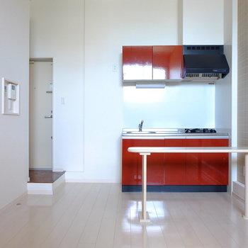 キッチンの存在感…!かっこいい※通電前の写真です。