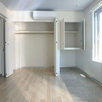 収納もしっかりと!右の収納の下にはペットのベッドを置いても◯ここにもエアコンがありました。