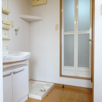 それでは、下の階へ。洗濯機置き場の上の棚に洗剤置こう!