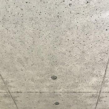 天井はコンクリート風のクロス!赤と緑のクロスととっても合ってるの!