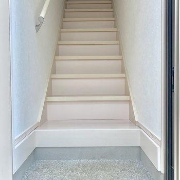 ドア開けたら階段です