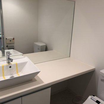洗面台はトイレの真横。