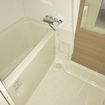 シンプルなバスルーム。鏡が付いているのは嬉しい◎(※写真は1階の反転間取り別部屋のものです)