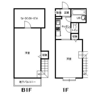 縦に2部屋ある間取りです