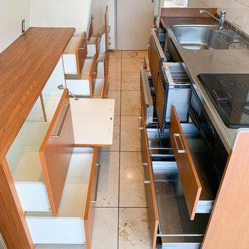 【ディティール】キッチンの棚たちの収納力。もはや圧巻です。