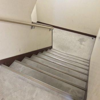 この階段をのぼって5階まで。幅はどっしりしています。