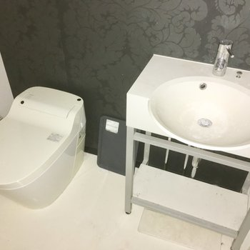 タンクレスのウォシュレット・トイレに、洗面台もおしゃれタイプ※写真は5階の似た間取り別部屋のものです