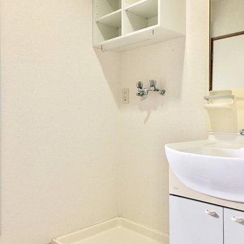 棚には洗剤やタオルなどを。