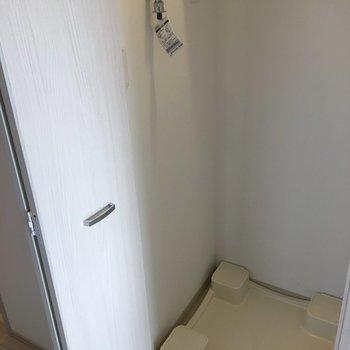 洗濯機置き場は扉で隠せます◎(※写真は10階の反転間取り別部屋のものです)