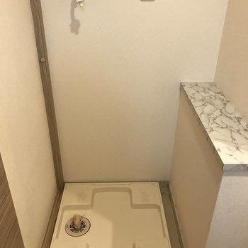 洗濯パンも室内にあります。(※写真は9階の同間取り別部屋、清掃前のものです)