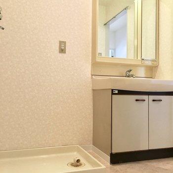 洗面台はゆったりサイズ。