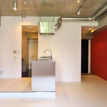 ステンレスキッチンが最高にクール。※写真は2階同間取り・別部屋のものです。
