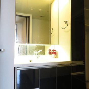 ラグジュアリーな洗面台です(※写真は14階同間取り別部屋、清掃前のものです)