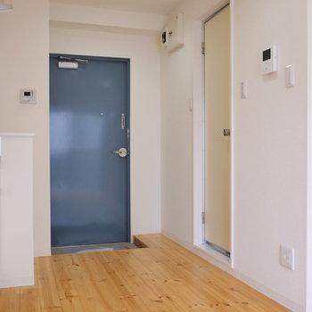 玄関部を再度。右手ドアを開くと、