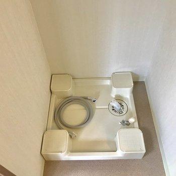 洗濯パンは洗面台の後ろにあります。