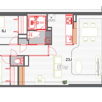 この広さで全面無垢床張りは贅沢すぎます!※赤い部分が設備として交換した箇所