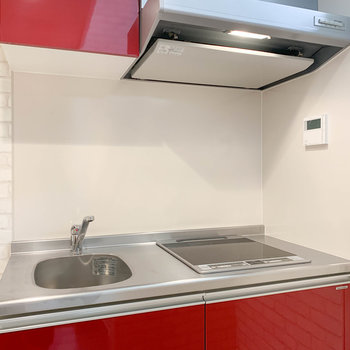 お手入れが簡単な二口IHのキッチンを採用。