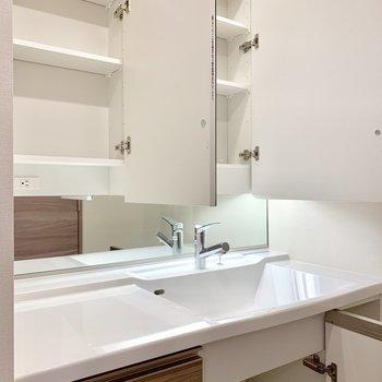 三面鏡の裏には、化粧水や歯ブラシを置きましょう。※写真は16階の同間取り別部屋のものです