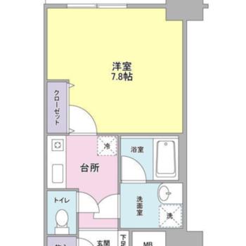 水回りが整理された1人暮らしに使いやすい空間※反転同間取りの図面です