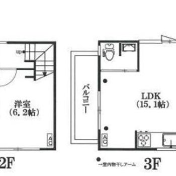 玄関は2階。メゾネットタイプのお部屋です。