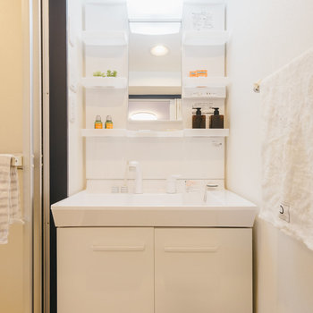 独立洗面台は脱衣所内に。※写真は1階反転間取り別部屋のものです