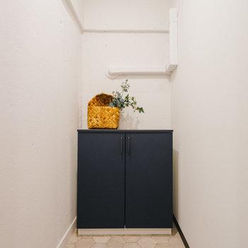 シューズインクローゼットに靴箱も。楽器機材を置くこともできそうです。※写真は1階反転間取り別部屋のものです