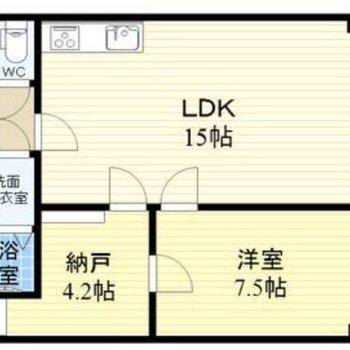 二人暮らしにもぴったりな1SLDK。