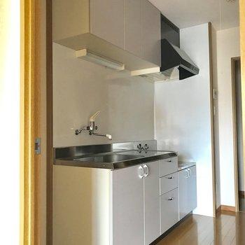 シンプルで大きめのキッチン。