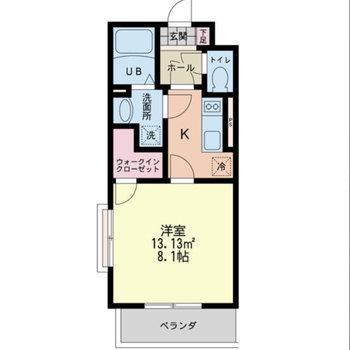 居室とキッチンは扉で仕切られています。※図面は反転間取りのものです