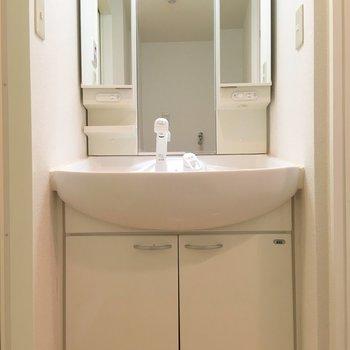 独立洗面台です。広い鏡で朝の準備が捗る。