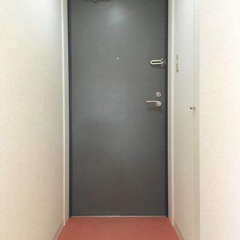 玄関のスペース十分。床の差し色がいいアクセント。
