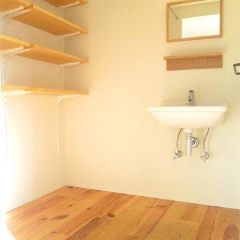 キッチン横は、小さな手洗い場と収納。※写真は同間取り別部屋のものです