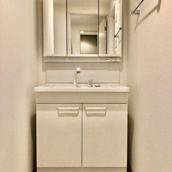 収納力が嬉しい3面鏡の独立洗面台。