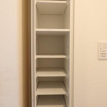 右側にも収納。これだけあれば安心です ※写真は10階の同間取り別部屋のものです