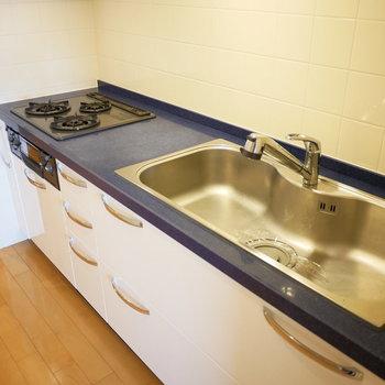 キッチンがおしゃれ。シンクもコンロもワイドサイズ(※写真は8階の同間取り別部屋のものです)