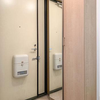 玄関です。サイドには鏡付きのシューズ棚。
