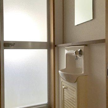 コンパクトな洗面台。(※写真は2階の同間取り別部屋のものです)