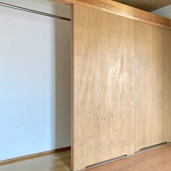 収納、左側にはハンガーポール。(※写真は2階の同間取り別部屋のものです)