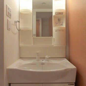 機能的な洗面台。(※写真は7階の同間取り別部屋のものです)
