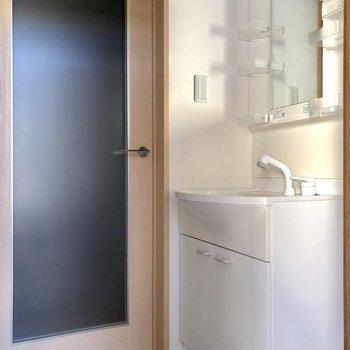 ここに独立洗面台があります。小物もしっかり収納できます※写真は1階の同間取り別部屋のものです