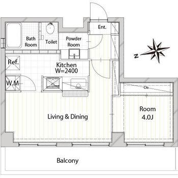 リビングが広い1LDKのお部屋。