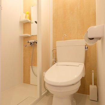 ウォシュレット付きのトイレに、シャワーブース!