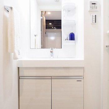 大きめの独立洗面台で、使い勝手よいですね。※家具・雑貨はサンプルです