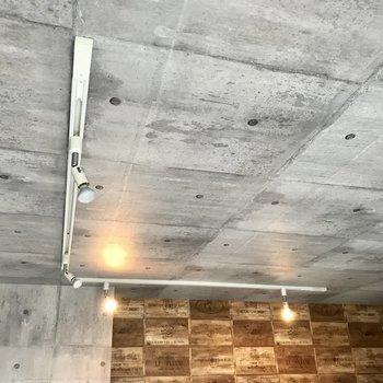 天井にはライティングレール。愛車を照らして写真を撮りたい。そしてコンクリ風のクロスなので寒くないんです!